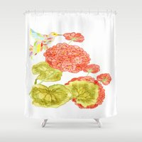 hummingbird Shower Curtains featuring Hummingbird by Thesecretcolors