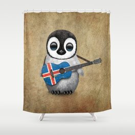 Baby Penguin Playing Icelandic Flag Acoustic Guitar Shower Curtain