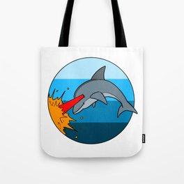 Laser Dolphin 1980s Retro Sci-Fi Design Tote Bag
