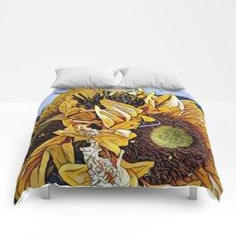 Sun Flower Day, Sun flowers art, sunflower prints, sun flowers tote, sun flowers bag, sun flowers Comforters