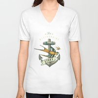 grey V-neck T-shirts featuring Anchor | Petrol Grey by Seaside Spirit