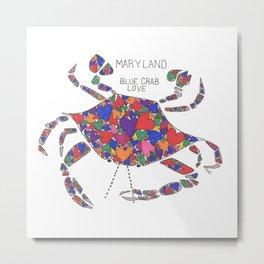 Blue Crab Maryland Art State Symbols - Love Metal Print