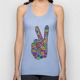 Cool Colorful Groovy Peace Sign and Symbols Unisex Tank Top