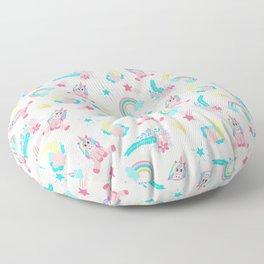 Cute Pink Teal Unicorn Rainbow Floral Stars Floor Pillow