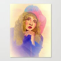 stevie nicks Canvas Prints featuring Stevie Nicks in Feathered Beret by Anne Merritt