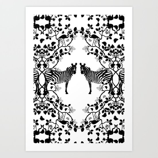 African Lace - Black & White Art Print
