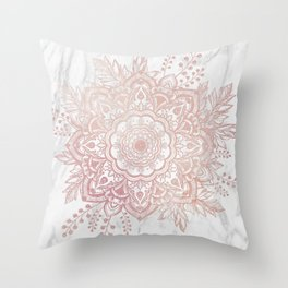 Queen Starring of Mandala-White Marble Throw Pillow