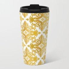 Two Tone Pattern in Gold Metal Travel Mug