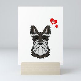 Love Schnauzer Dog Owner Schnauzer Paw Heart Gift Mini Art Print