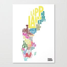Svenska landskap (Swedish provinces) white Canvas Print