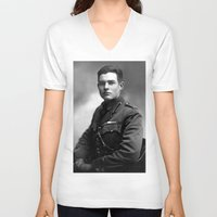 hemingway V-neck T-shirts featuring Ernest Hemingway in Uniform, 1918 by Limitless Design