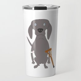 Wounded Weim Grey Ghost Weimaraner Dog Hand-painted Pet Drawing Travel Mug