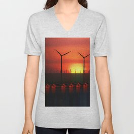Boats at Sunset (Digital Art) Unisex V-Neck
