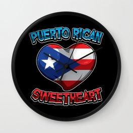 Puerto Rican Sweetheart - Boricua Heart Wall Clock