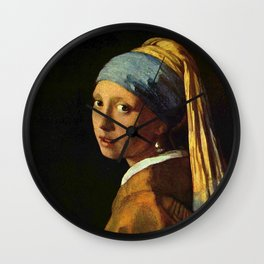 Girl with a Pearl Earring old painting Wall Clock