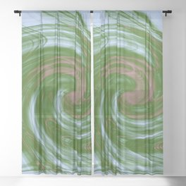 Swirling green and blue fractal vortex Sheer Curtain