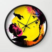 nietzsche Wall Clocks featuring Friedrich Wilhelm Nietzsche by DIVIDUS