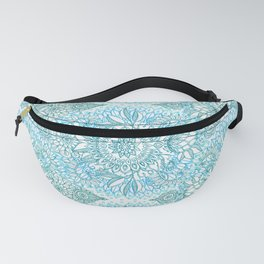 Turquoise Blue, Teal & White Protea Doodle Pattern Fanny Pack