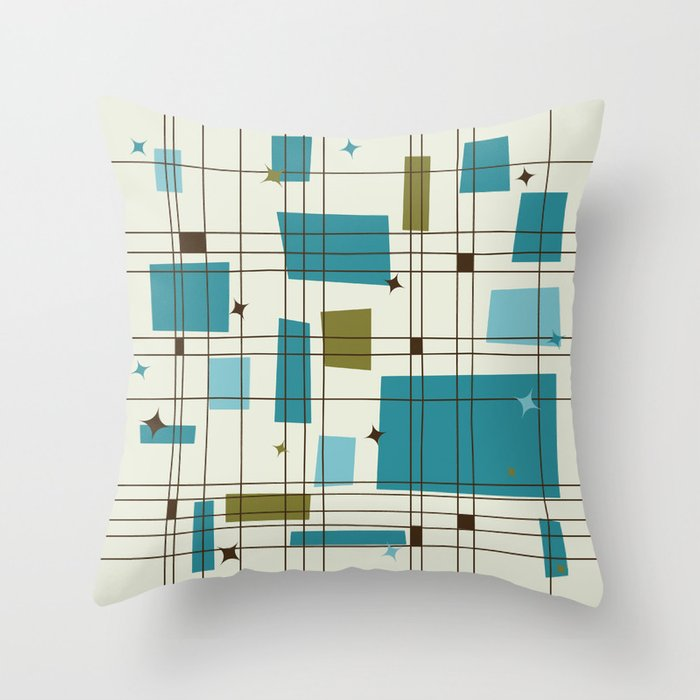 Mid-Century Modern (teal) Throw Pillow