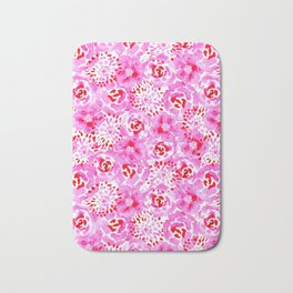 Watercolor Bouquet in Rose Red Pink Bath Mat