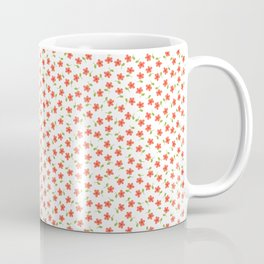 Ditsy Floral - Coral and Green on White Coffee Mug