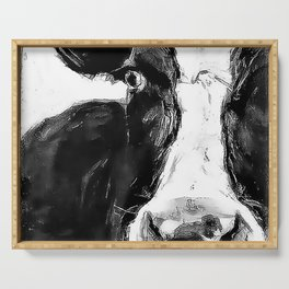 Black and White Cow - Dairy Cow - Farm Animal - Holstein Cow Serving Tray