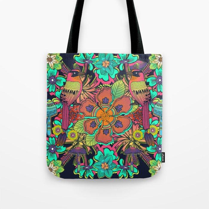 Ave de la Soledad - bird, botanical, garden, lush, exotic, floral, flower, colorful, forest, tropic Tote Bag