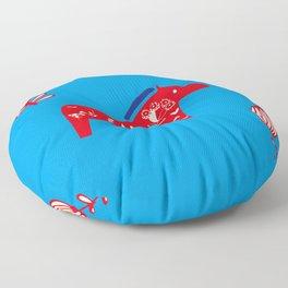 Dala Horse blue Floor Pillow