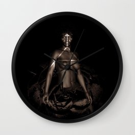 Black Queen Artistic Nude African American Woman  Rose  Wall Clock