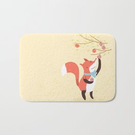 Fox apple picking Bath Mat