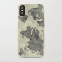 vintage map iPhone & iPod Cases featuring World Map Black Vintage by City Art Posters