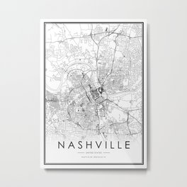 Nashville City Map United States White and Black Metal Print