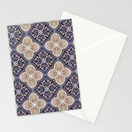 Portuguese Tiles Azulejos Blue and Brown Pattern Stationery Cards