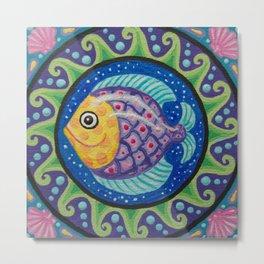 Little Fishie Mandala Metal Print