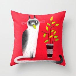 SNACK CAT Throw Pillow