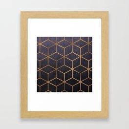 Dark Purple and Gold - Geometric Textured Gradient Cube Design Framed Art Print