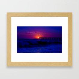 Wicked Blue Beach Sunset Framed Art Print