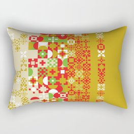 Red gold green abstract modern geometric background, pattern Rectangular Pillow