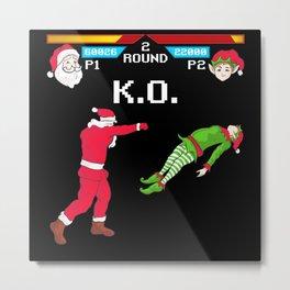 Santa vs Elf Metal Print