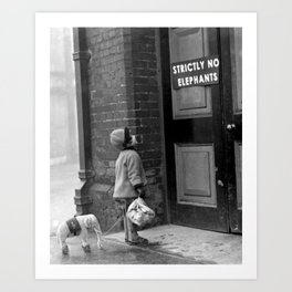 'Strictly No Elephants' vintage humorous child verses the world black and white photograph / black and white photography Art Print
