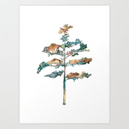 Pine Tree #2 in pink and blue - Ink painting Art Print
