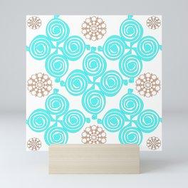 Cyan and salmon pattern Mini Art Print