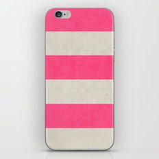 vintage hot pink stripes iPhone Skin