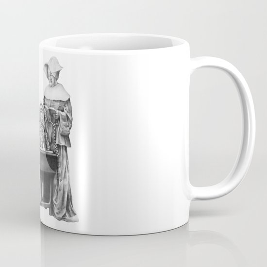 In which a cosmonaut is rendered quizzical Mug