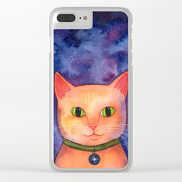 Ginger Cat in Space Clear iPhone Case