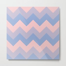 Chevron pattern using 2016 Pantone colors serenity rose quartz in square Metal Print