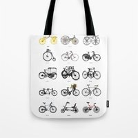bicycles Tote Bags featuring Bicycles by MuDesignbyMugeBaris