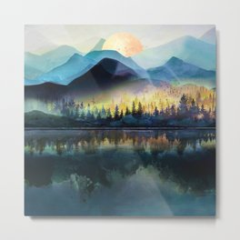 Mountain Lake Under Sunrise Metal Print