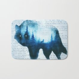 Wolf in the Forest | Double Exposure Wolf | Book Pages | Vintage Wolf Art Bath Mat