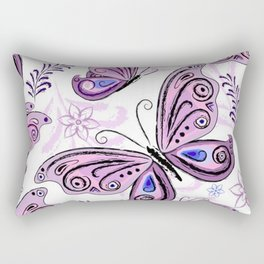 Colorful Butterflies and Flowers V12 Rectangular Pillow